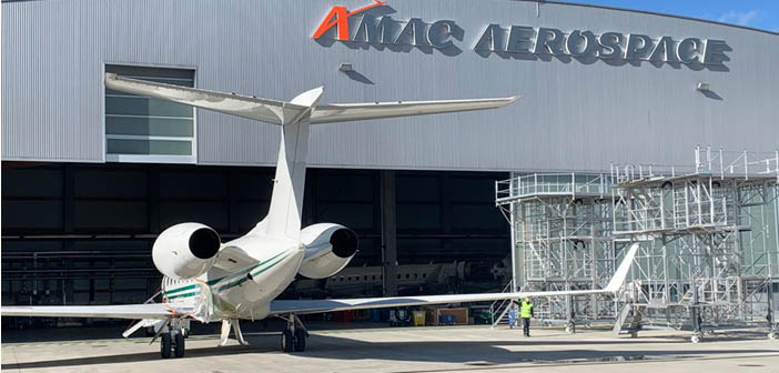 A Gulfstream aircraft entering one of AMAC's hangars for a C-check
