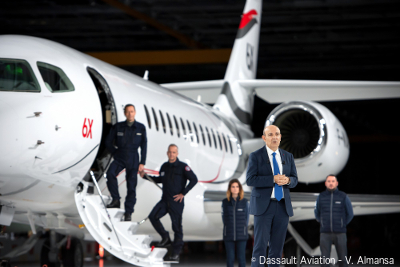 The roll-out of the Falcon 6X, the latest addition to the Falcon Jet family, at Dassault Aviation's facility in Merignac, France. © Dassault Aviation - V. Almansa