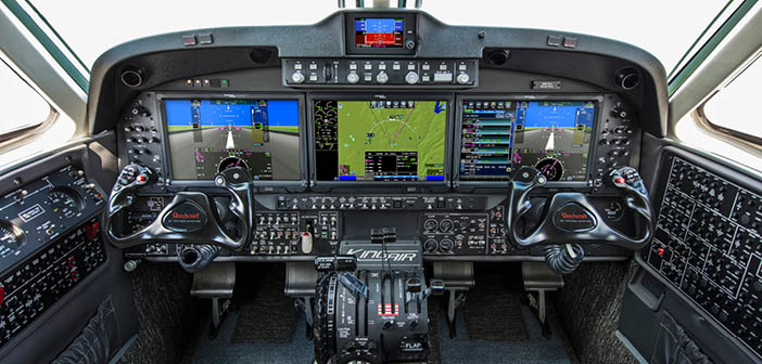 The King Air 260 cockpit features enhancements including a new autothrottle, a new digital pressurisation controller and a Multi-Scan weather radar system