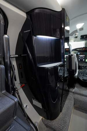 The hydro-dipped cabinetry on the Citation XLS