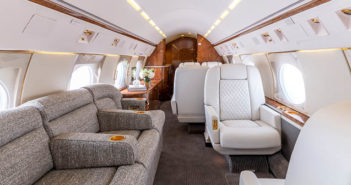 A Gulfstream GIV-SP, part of the Jet Edge large-cabin point-to-point fleet