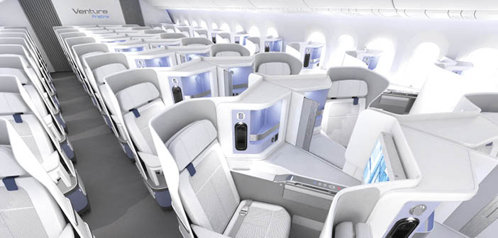 Venture Pristine is a business-class seat for commercial aircraft