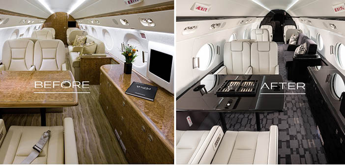 A Gulfstream cabin before and after a redesign
