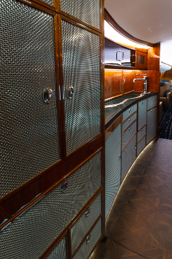 The galley has an unusual metal design