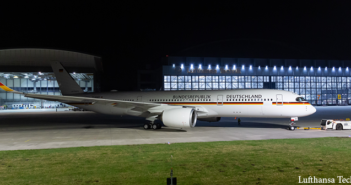 The second of three A350-900s operated by the German Ministry of Defense's Special Air Mission Wing has arrived at Lufthansa Technik for cabin completion