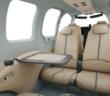 The 75th anniversary special-edition Beechcraft Bonanza G36 interior features Olive Ann Beech's signature blue