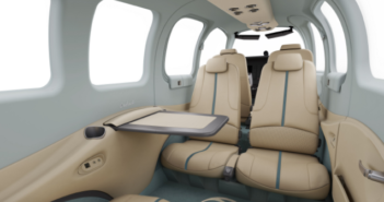 The 75th anniversary special-edition Beechcraft Bonanza G36 interior features Olive Ann Beech's signature blue