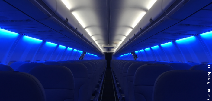 A Boeing cabin with lighting by Cobalt Aerospace