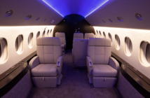 The Falcon 2000EX refurbishment included the installation of Prizm cabin lighting