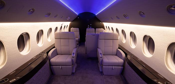 The Falcon 2000EX refurbishment included the installation of Prizm cabin lighting