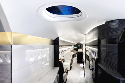 The Dassault Falcon 6X features a skylight in the galley. Image: Dassault Aviation