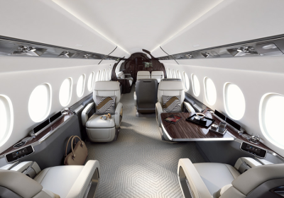 The Dassault Falcon 6X's cabin has garnered the Red Dot: Best of the Best award. Image: Dassault Aviation