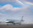 One of VistaJet's new Global 7500 aircraft receives a water salute on arrival in Malta