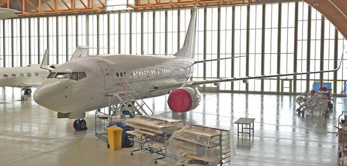 A Boeing aircraft during maintenance work in AMAC's wide-body hangar three in Basel, Switzerland