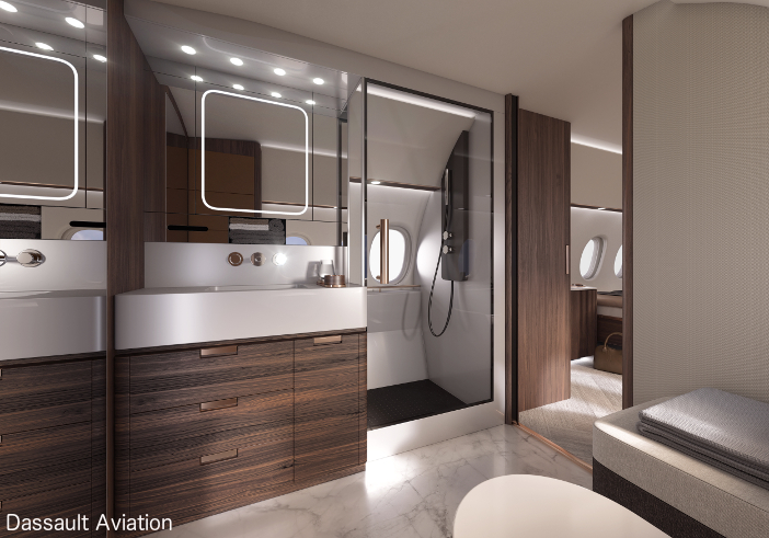 A large shower is available on the Falcon 10X