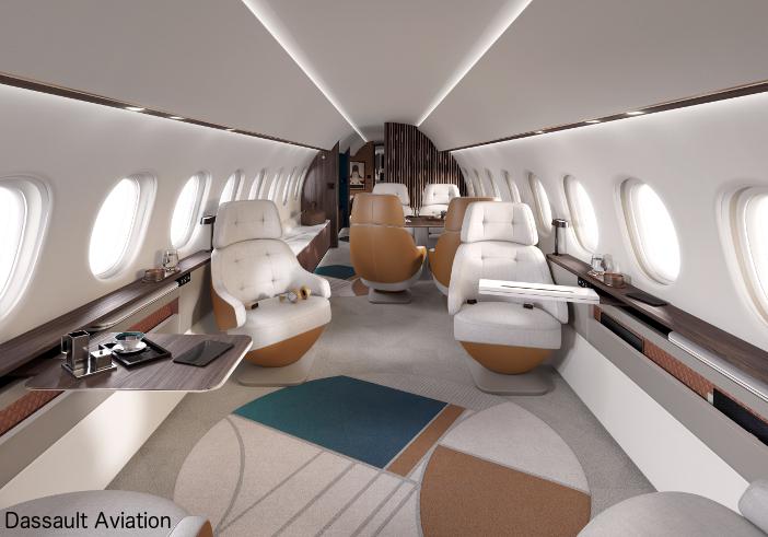 The Falcon 10X cabin is 6ft 8in (2.03m) tall and 9ft 1in (2.77m) wide