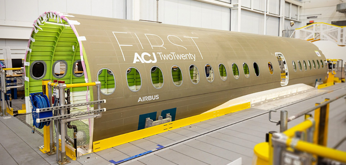 The first ACJ TwoTwenty fuselage section has arrived at the final assembly line