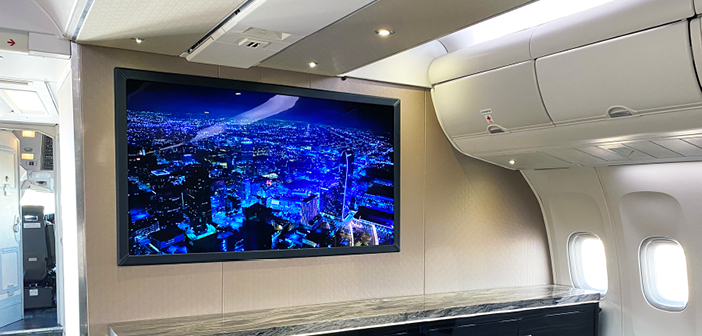 DPI's 65in SmartCanvas UHD 4K cabin display installed on a VVIP Boeing 767