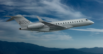 A Global 6000 in Bombardier's Specialized Aircraft livery