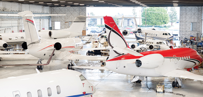 A Clay Lacy maintenance facility at Van Nuys Airport in Los Angeles, California