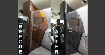 The Citation XLS interior before and after its interior components were hydrodipped by Duncan Aviation