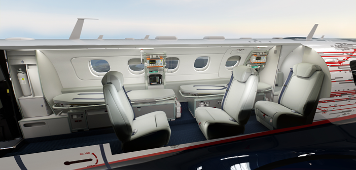 A cutaway showing one potential configuration for the Embraer Phenom 300MED