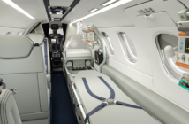 Embraer's Phenom 300MED interior with stretcher and incubator
