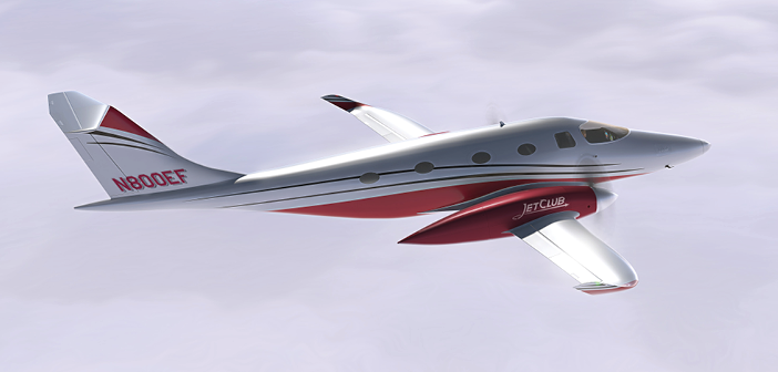 The all-electric Bye Aerospace eFlyer 800 in JetClub livery