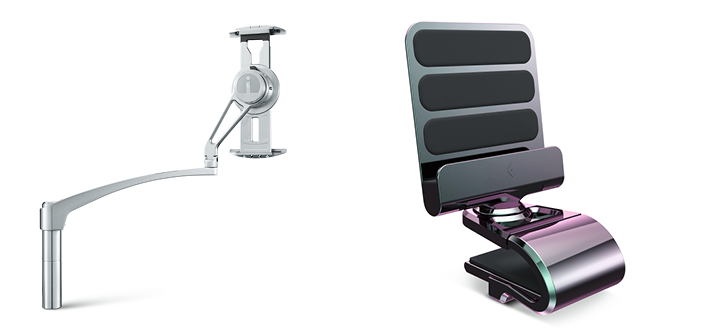 Ingenio Aerospace's Cabin Tablet Arm (left) and Table Tablet Holder (right)