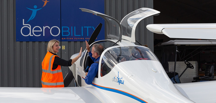 The Grob G109B Able arrives at Aerobility's headquarters at Blackbushe Airport