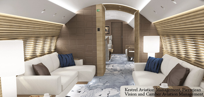 A guest lounge on the A220 cabin concept