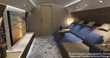 A media lounge on the A220 cabin concept