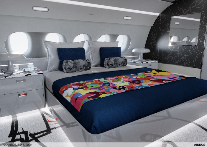 The bedroom in the ACJ TwoTwenty special cabin edition by Cyril Kongo