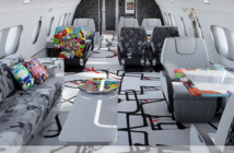 The business lounge in the ACJ TwoTwenty special cabin edition by Cyril Kongo