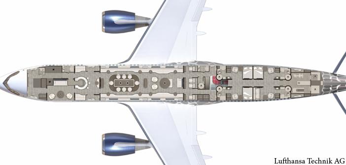 The floorplan of the Explorer design concept by Lufthansa Technik