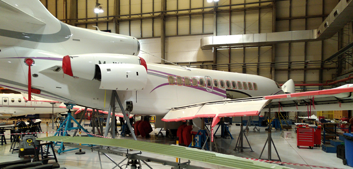 A Falcon 7X in for maintenance at ExecuJet MRO Services Middle East