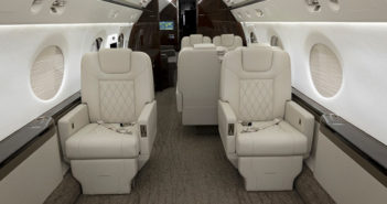 Interior refurbishment and avionics upgrades completed by Duncan Aviation transformed this G550