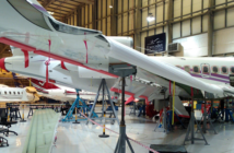 A Falcon 7X undergoing maintenance at ExecuJet MRO Services Middle East in Dubai, UAE