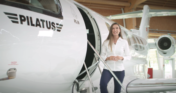 Marta Esquer Cerezo, project manager for Pilatus, gives a tour of the PC-24 cabin