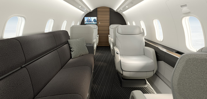 Looking forward through the Challenger 3500 cabin