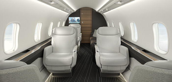 The Challenger 3500 interior, facing aft