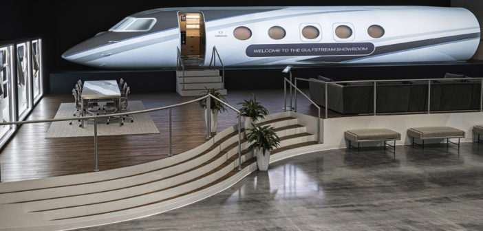 The customer showroom at Gulfstream's worldwide headquarters in Savannah, Georgia, has been expanded to incorporate the all-new Gulfstream G400