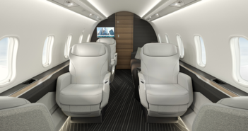 The Bombardier Challenger 3500 cabin, looking aft